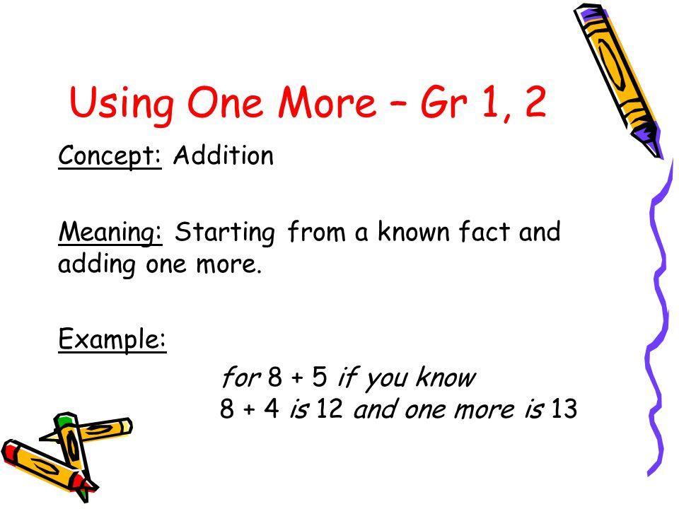 Using One More – Gr 1, 2 Concept: Addition
