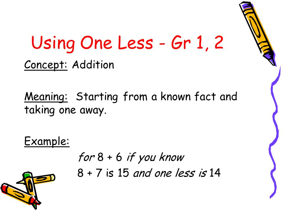 Using One Less - Gr 1, 2 Concept: Addition