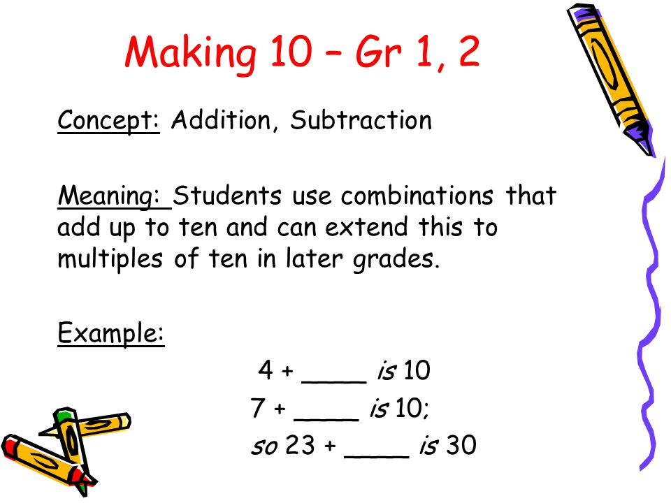 Making 10 – Gr 1, 2 Concept: Addition, Subtraction