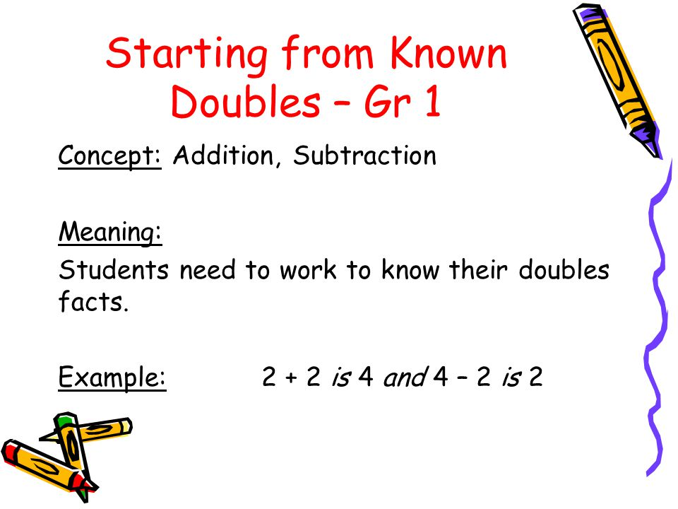 Starting from Known Doubles – Gr 1