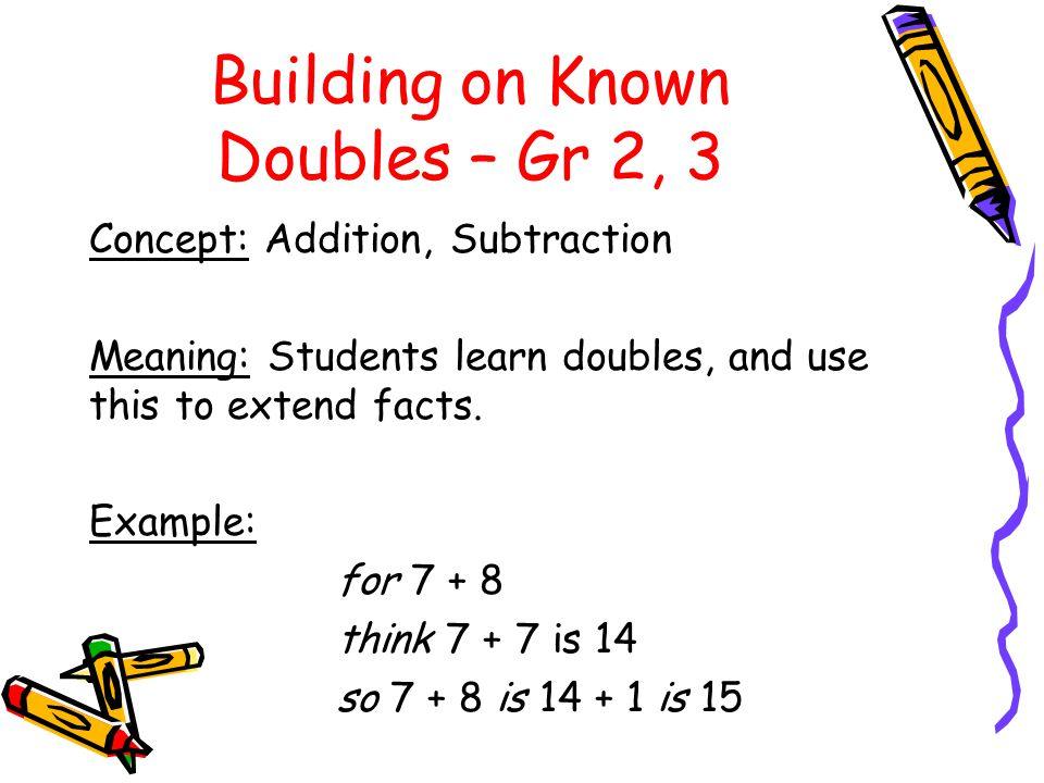 Building on Known Doubles – Gr 2, 3