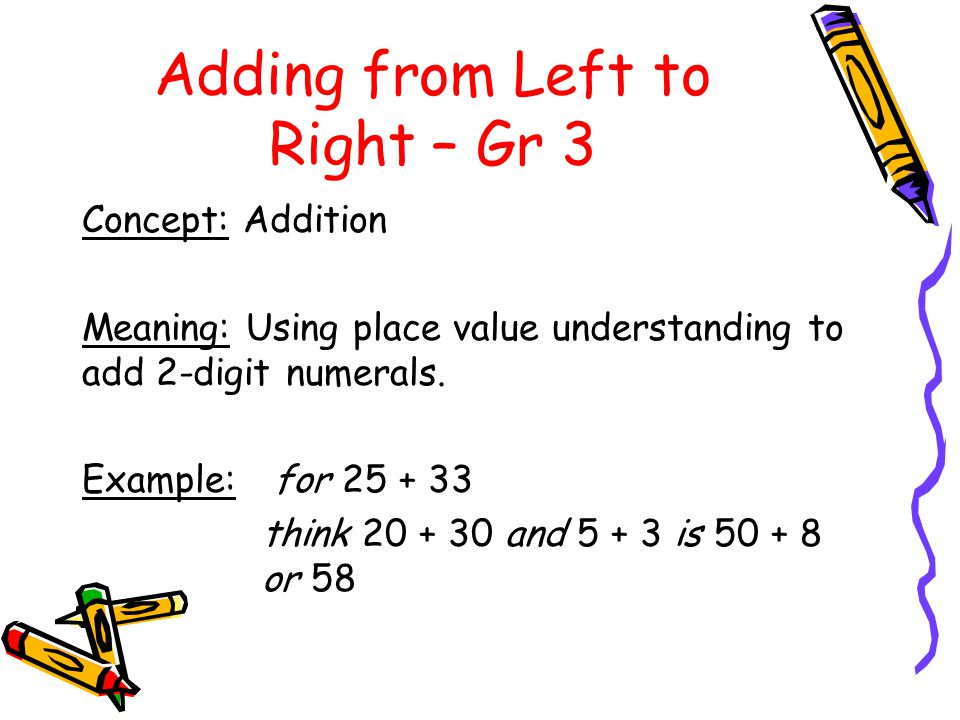 Adding from Left to Right – Gr 3