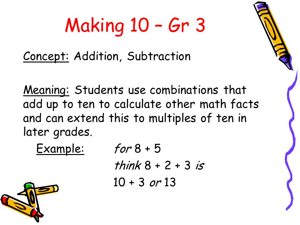 Making 10 – Gr 3 Concept: Addition, Subtraction