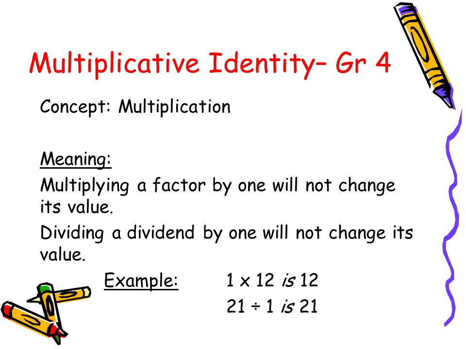 Multiplicative Identity– Gr 4