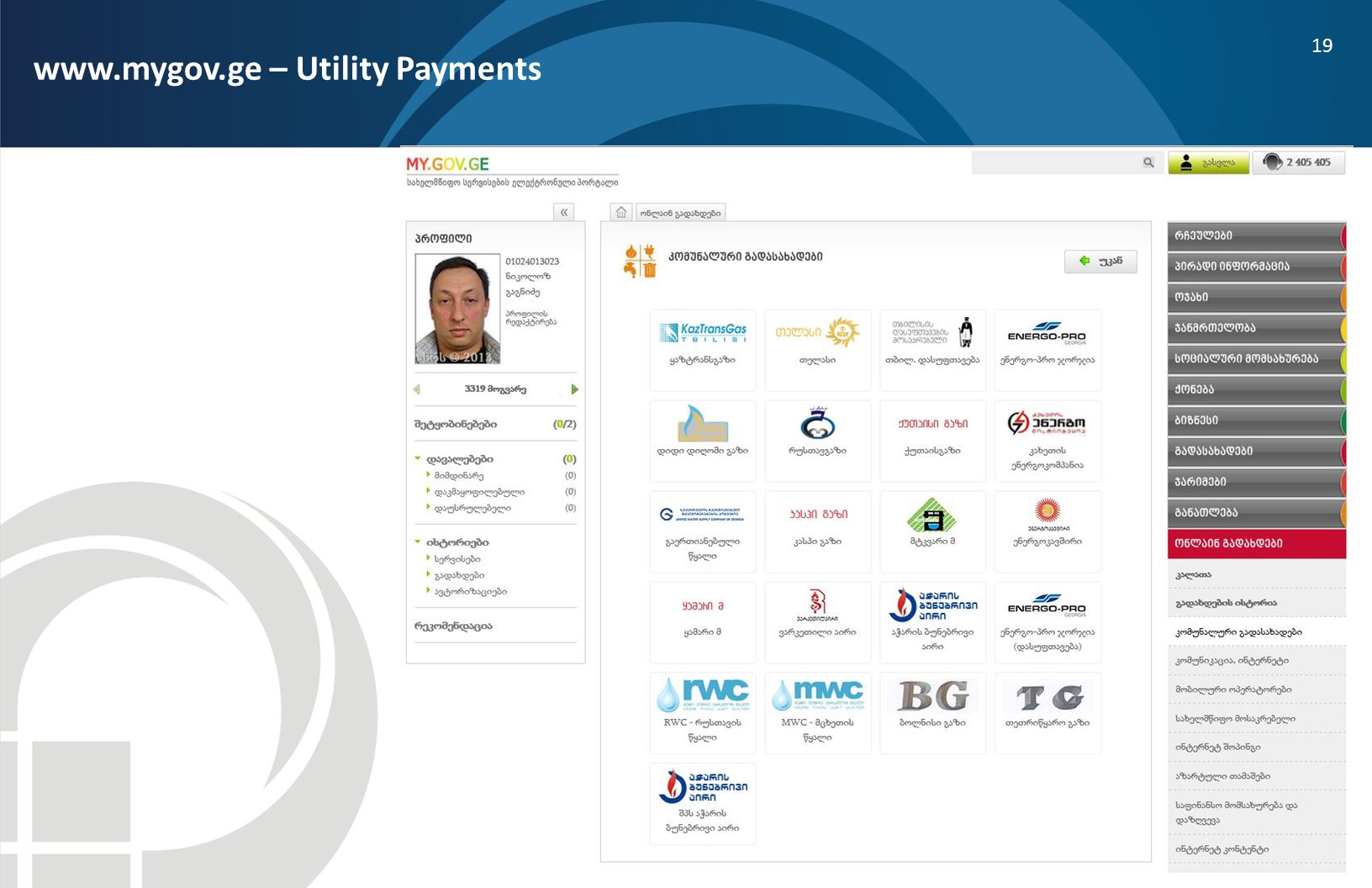 www.mygov.ge – Utility Payments