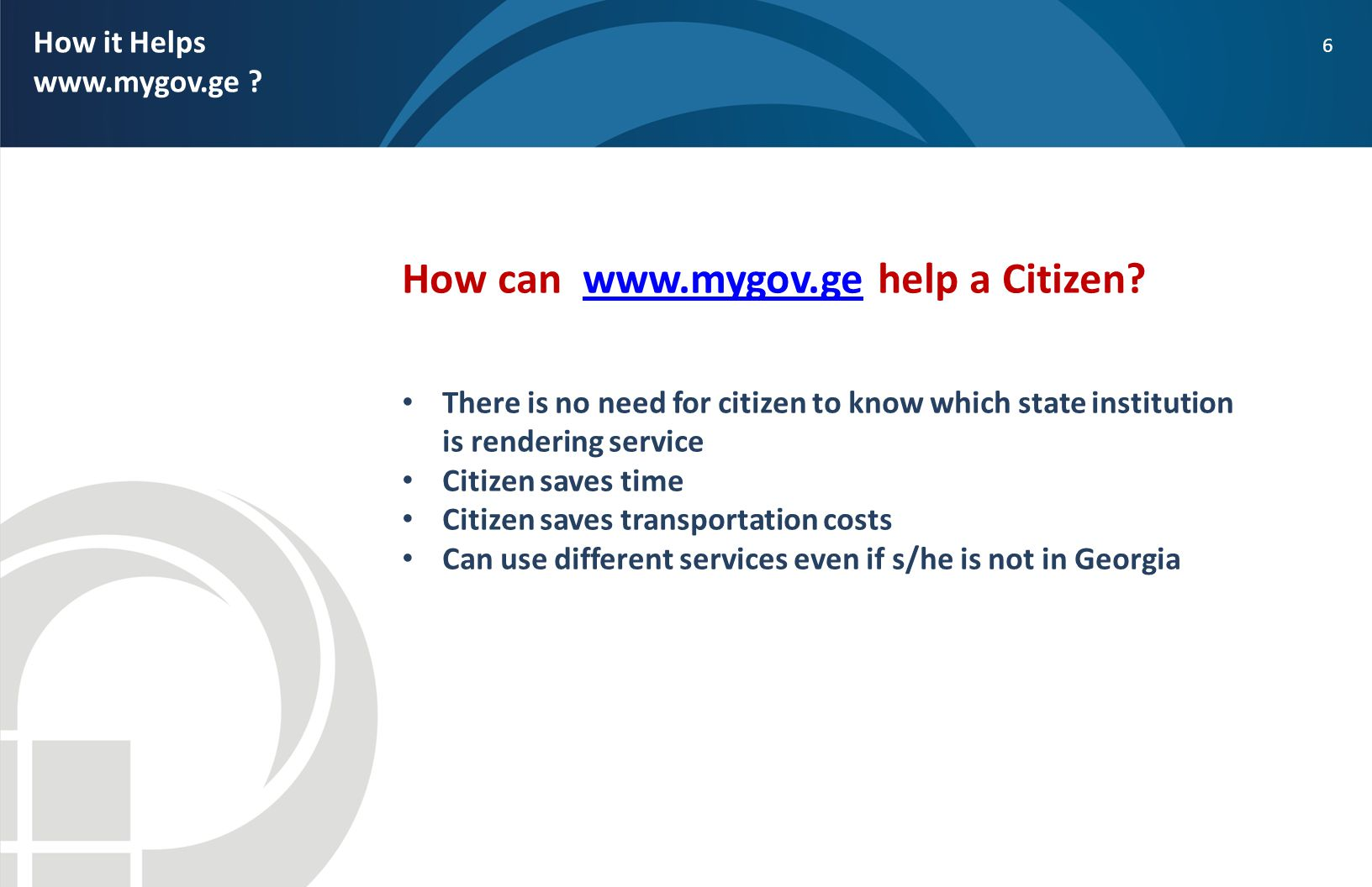 How can www.mygov.ge help a Citizen