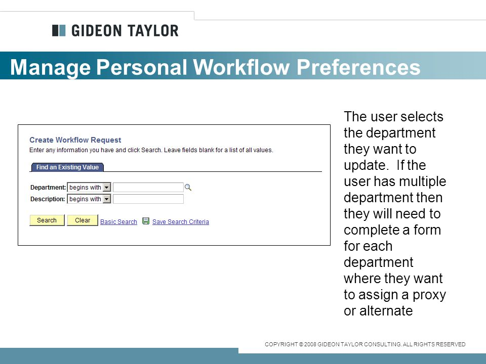 Manage Personal Workflow Preferences