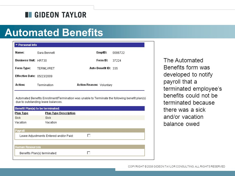 Automated Benefits