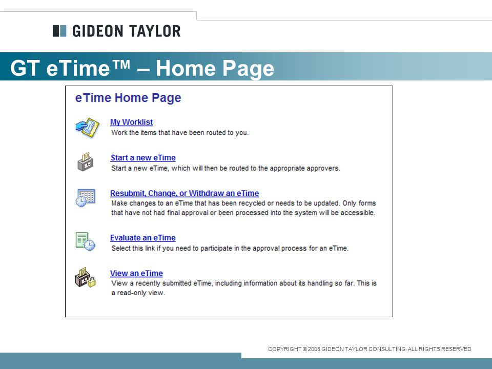 GT eTime™ – Home Page