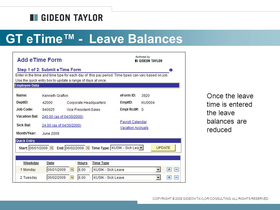GT eTime™ - Leave Balances