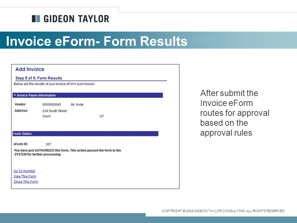 Invoice eForm- Form Results