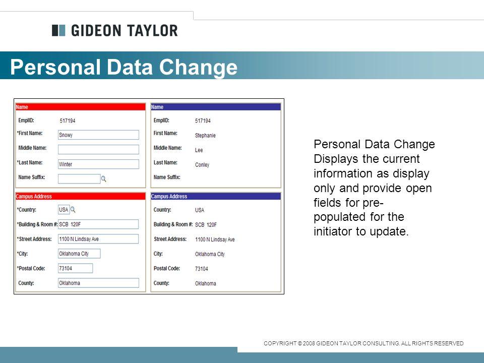 Personal Data Change Personal Data Change