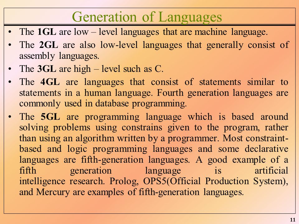Generation of Languages