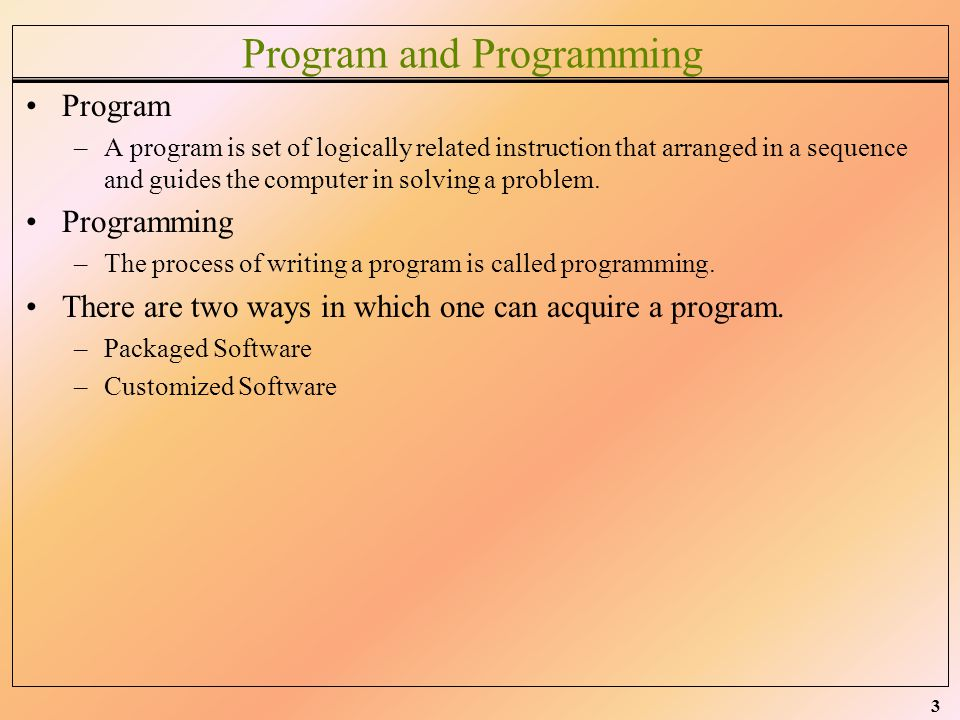 Program and Programming
