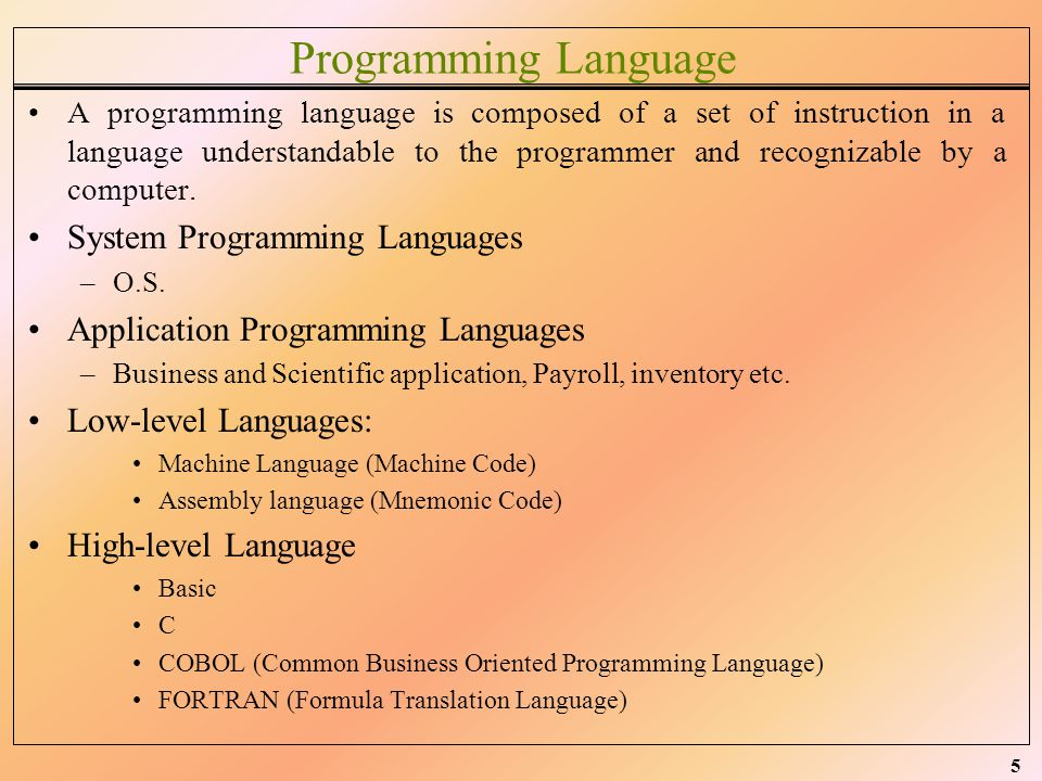 Programming Language System Programming Languages