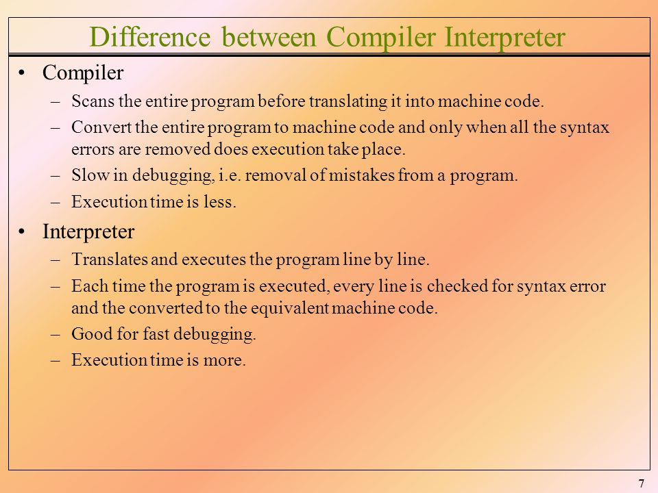 Difference between Compiler Interpreter