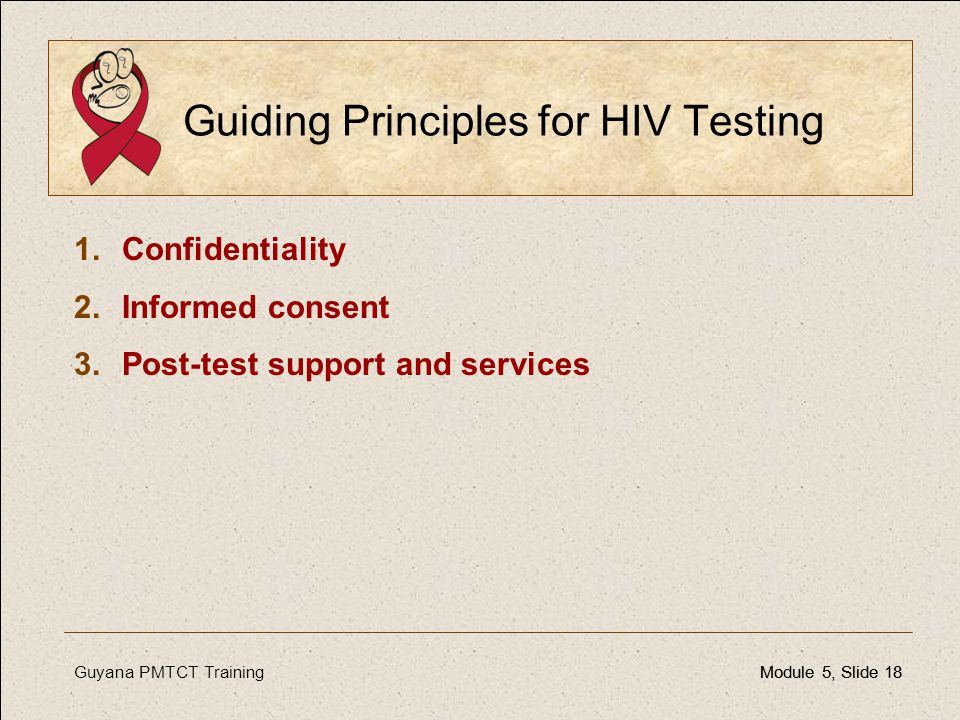 Guiding Principles for HIV Testing