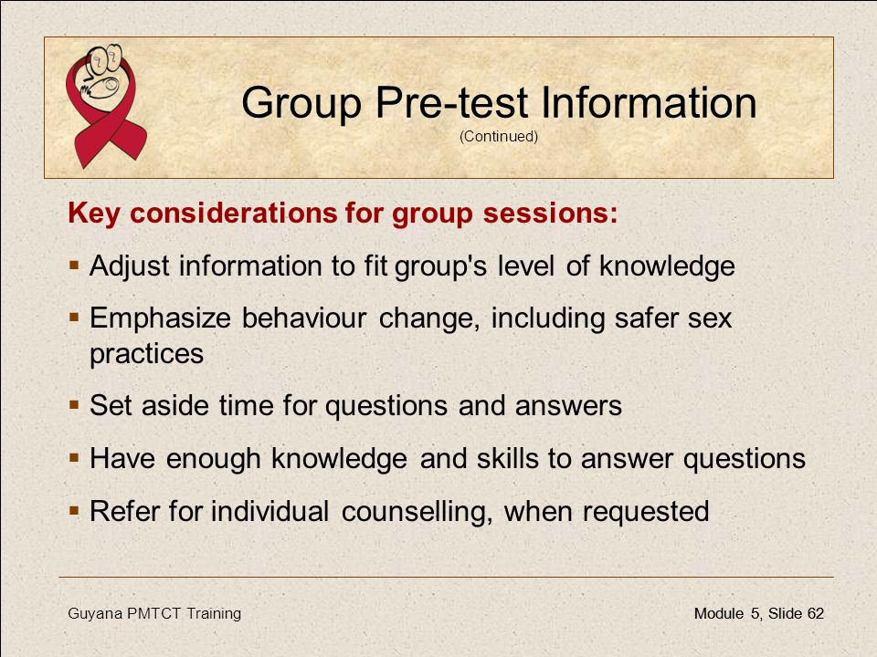 Group Pre-test Information (Continued)