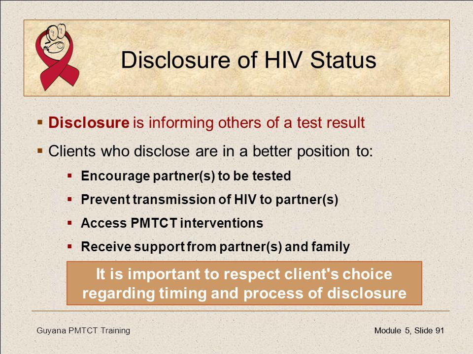 Disclosure of HIV Status