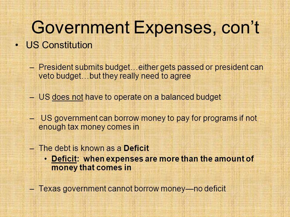 Government Expenses, con't