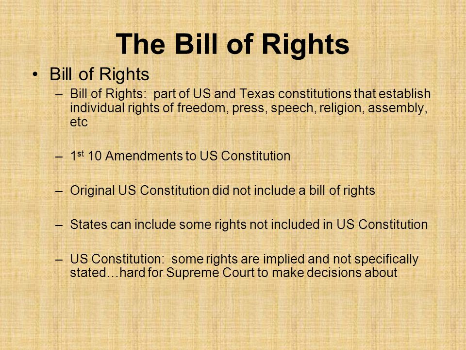 The Bill of Rights Bill of Rights