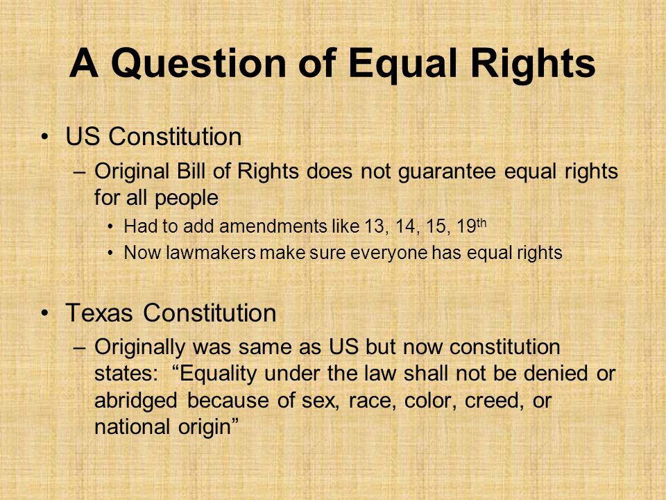A Question of Equal Rights