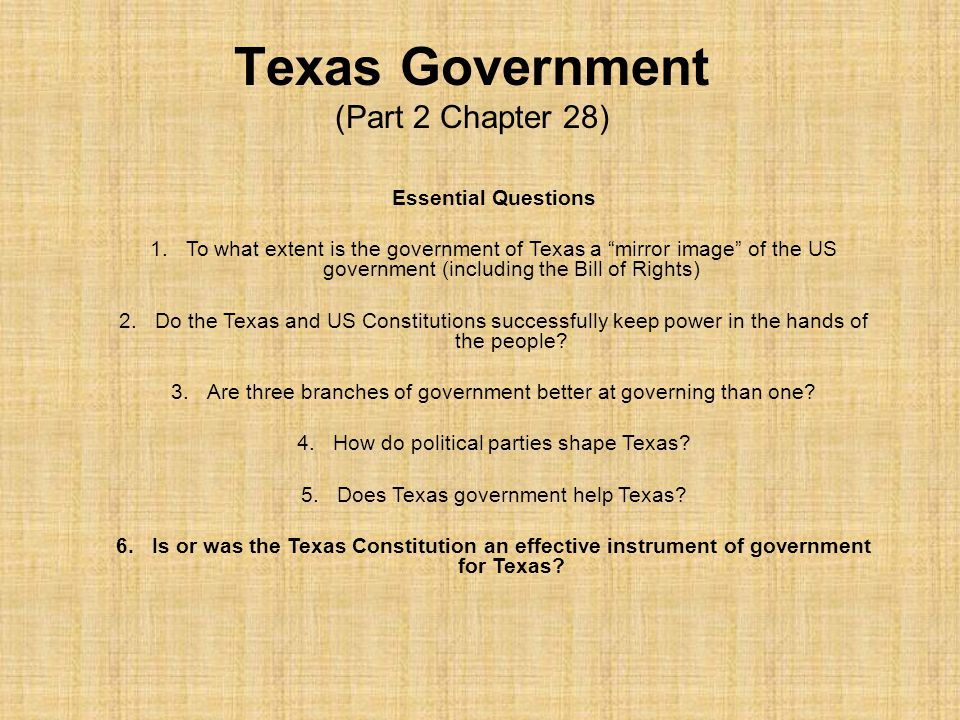 Texas Government (Part 2 Chapter 28)