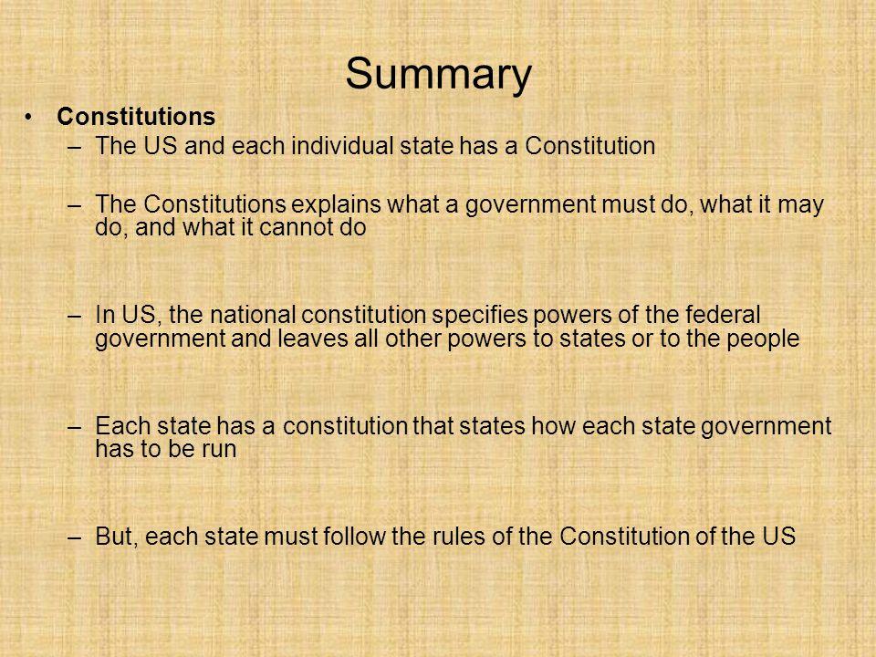 Summary Constitutions