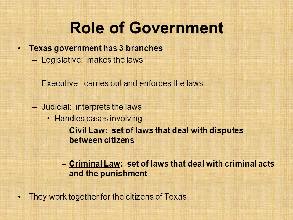 Role of Government Texas government has 3 branches
