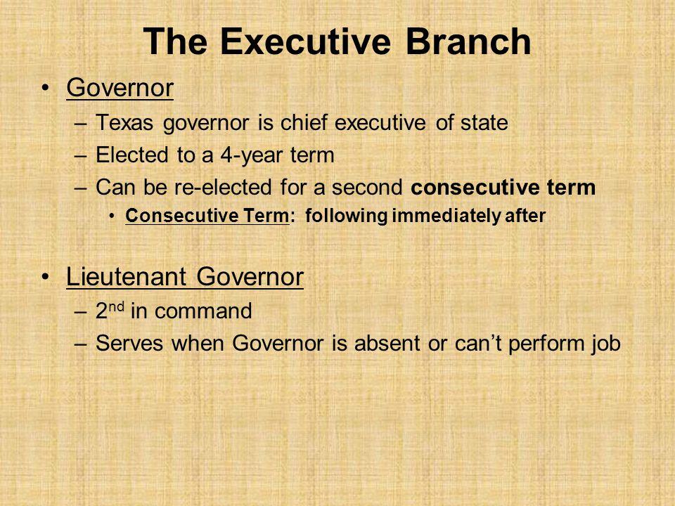 The Executive Branch Governor Lieutenant Governor