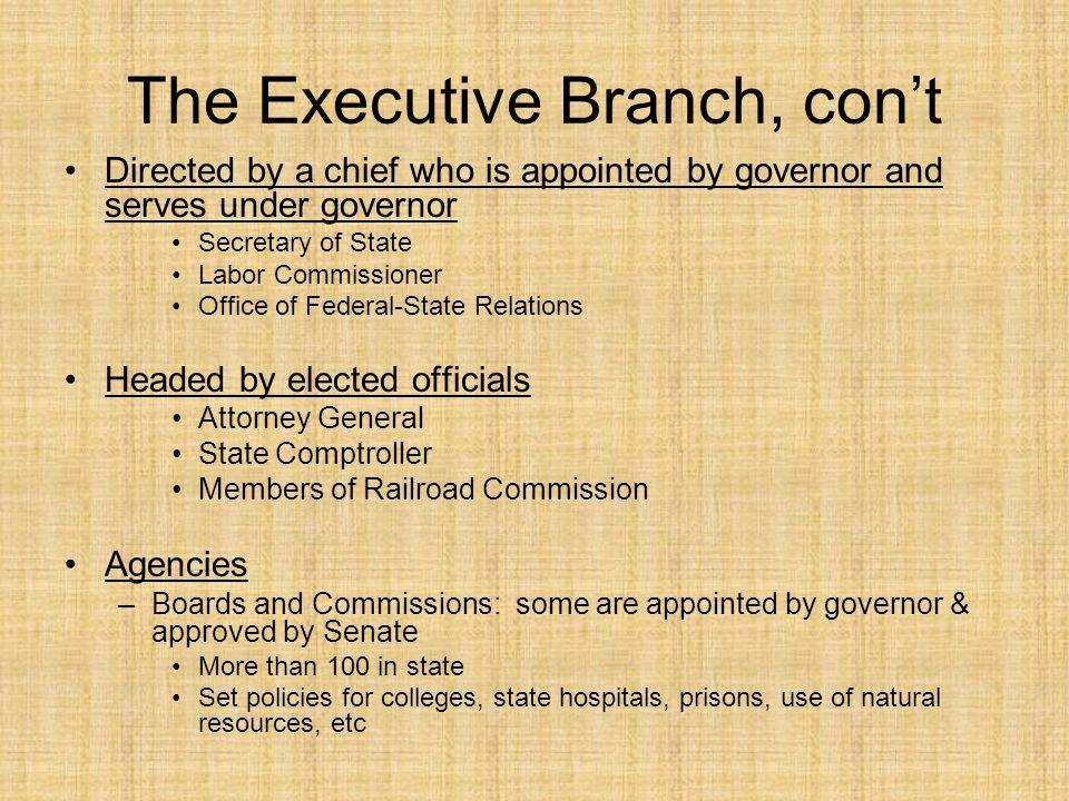 The Executive Branch, con't