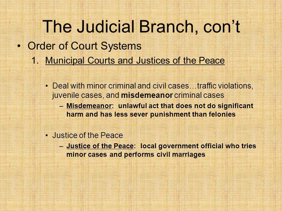 The Judicial Branch, con't