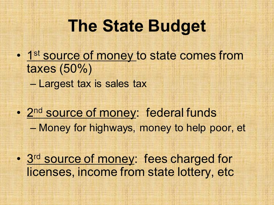 The State Budget 1st source of money to state comes from taxes (50%)