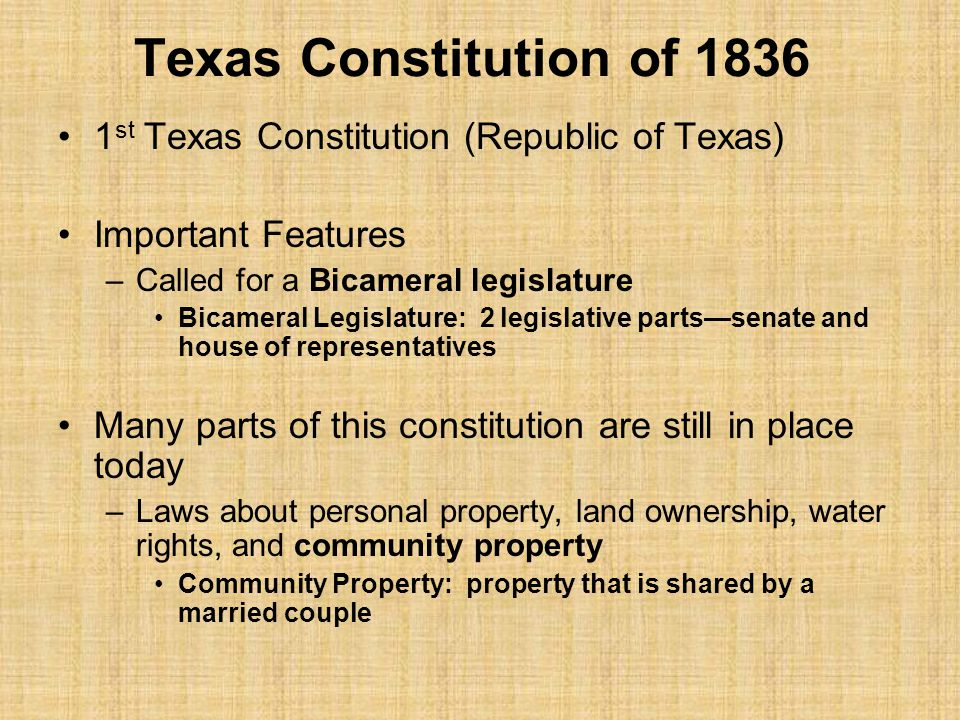 texas constution Under the then-current 1866 texas constitution, article iv provided for the  election of supreme court justices (sec 2), district court judges (sec.