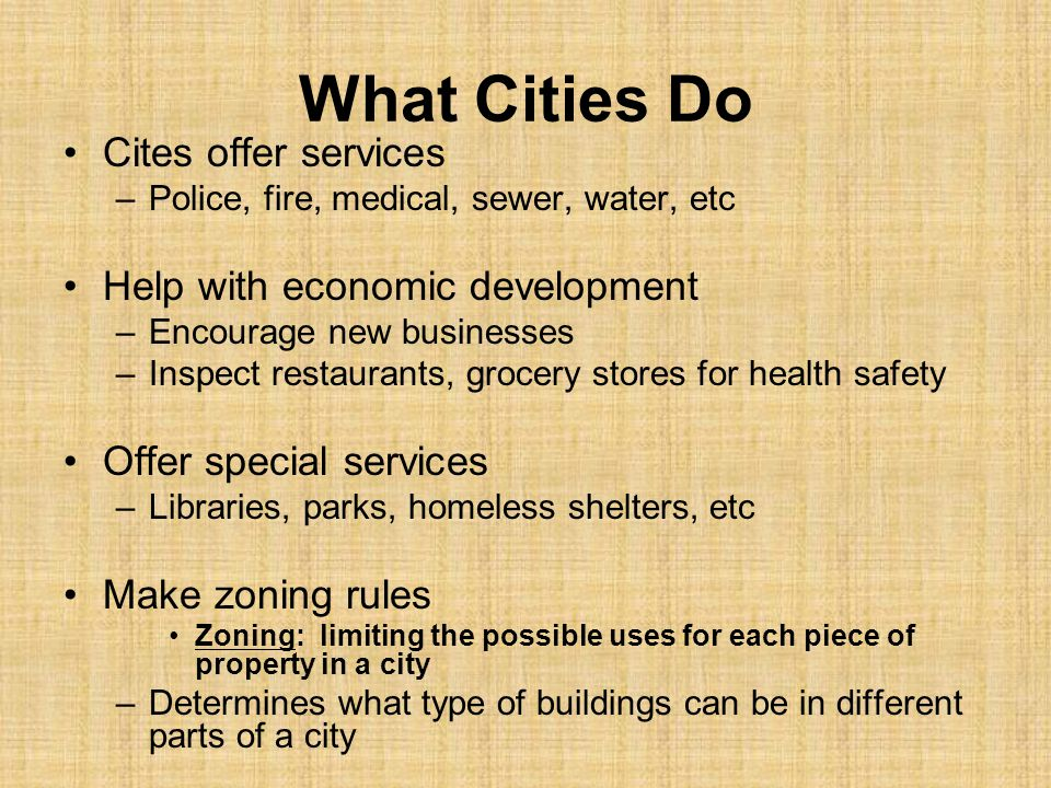 What Cities Do Cites offer services Help with economic development