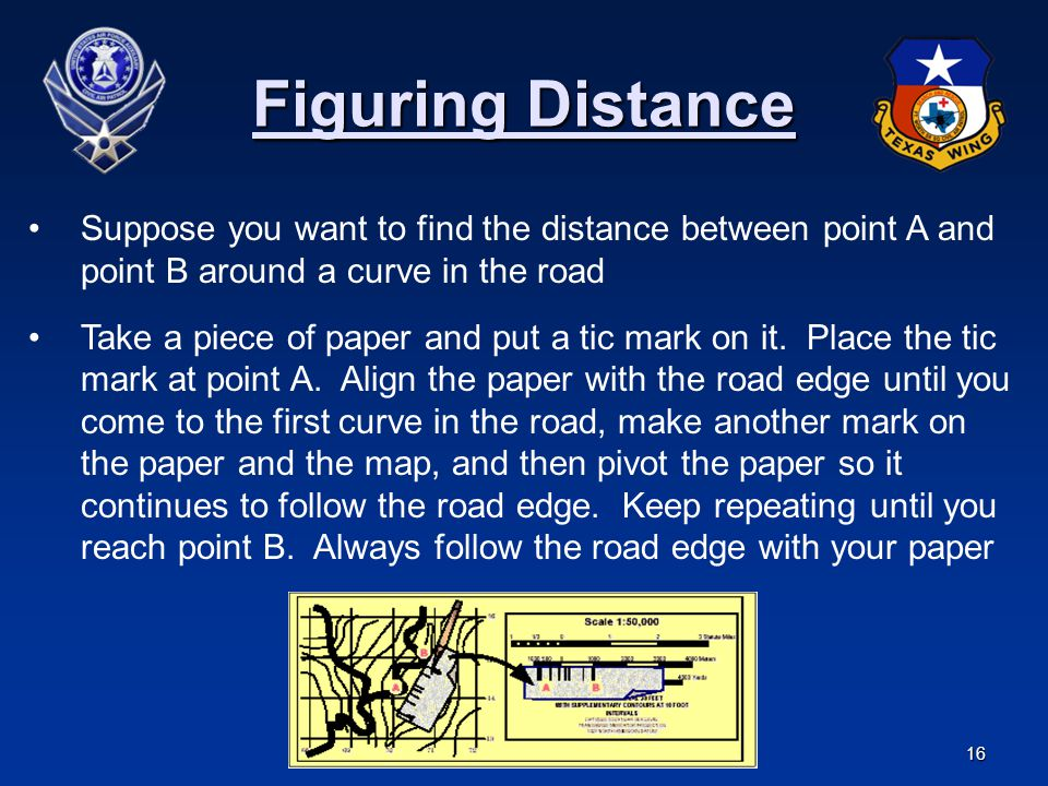 Figuring Distance Suppose you want to find the distance between point A and point B around a curve in the road.
