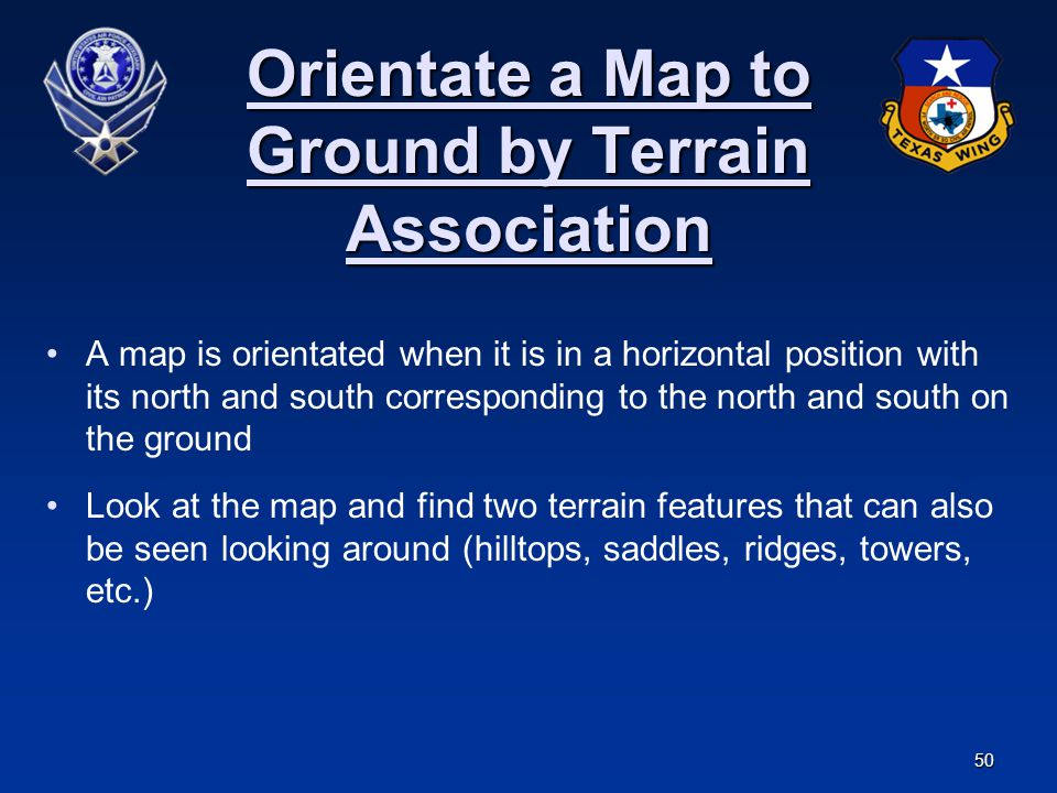 Orientate a Map to Ground by Terrain Association