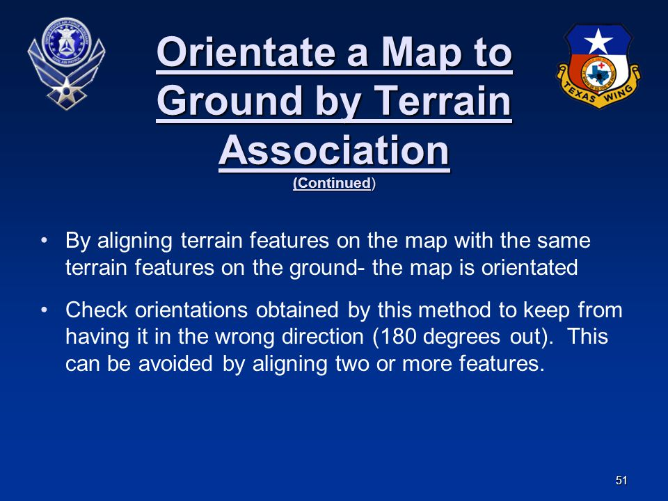 Orientate a Map to Ground by Terrain Association (Continued)