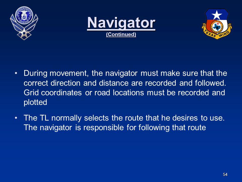 Navigator (Continued)