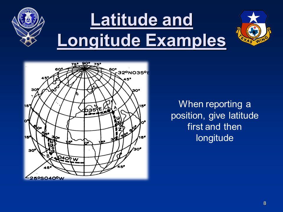 Latitude and Longitude Examples