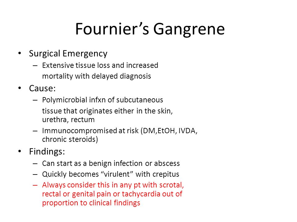 Fournier's Gangrene Surgical Emergency Cause: Findings: