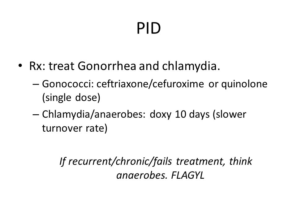 If recurrent/chronic/fails treatment, think anaerobes. FLAGYL