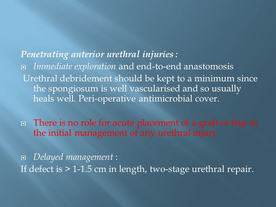 Penetrating anterior urethral injuries :