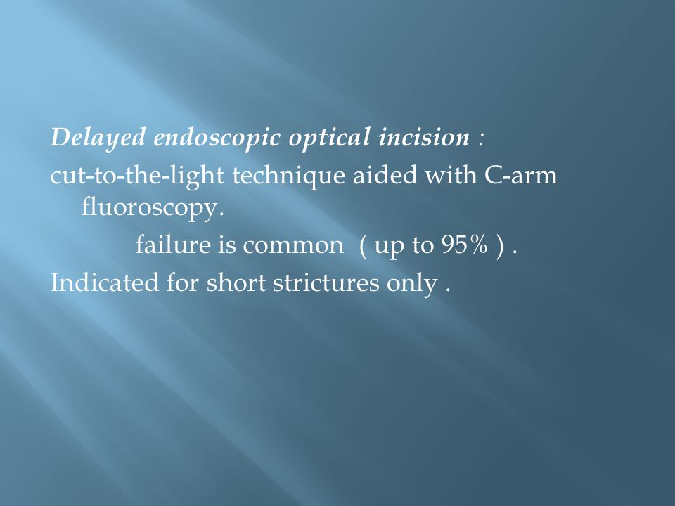 Delayed endoscopic optical incision : cut-to-the-light technique aided with C-arm fluoroscopy.
