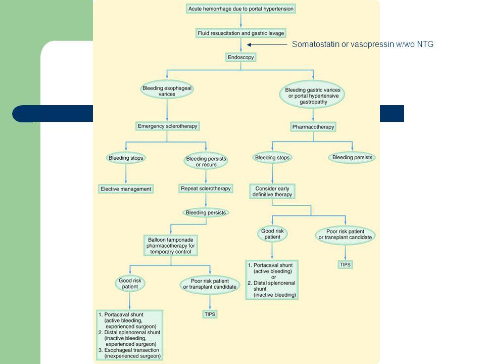Somatostatin or vasopressin w/wo NTG