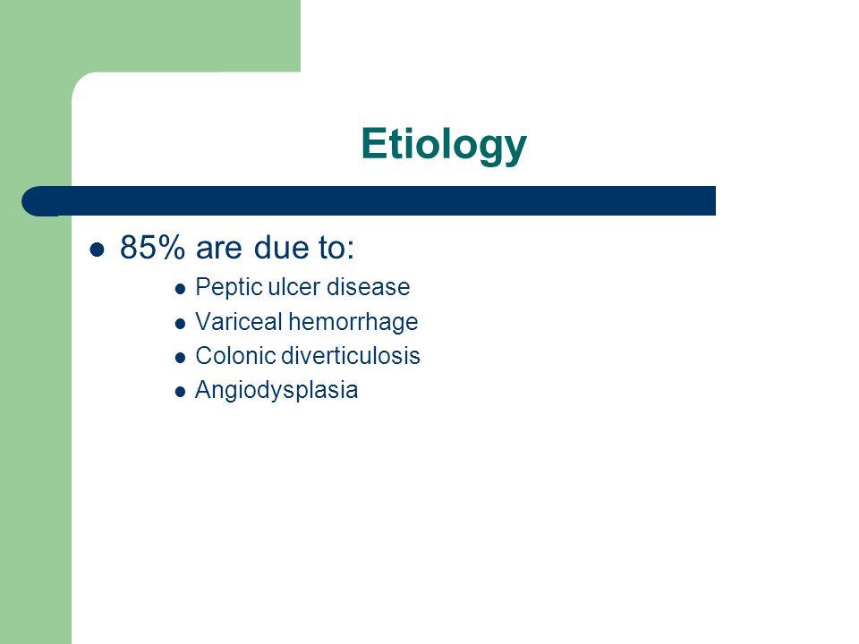 Etiology 85% are due to: Peptic ulcer disease Variceal hemorrhage