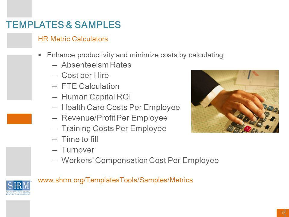 TEMPLATES & SAMPLES Absenteeism Rates Cost per Hire FTE Calculation