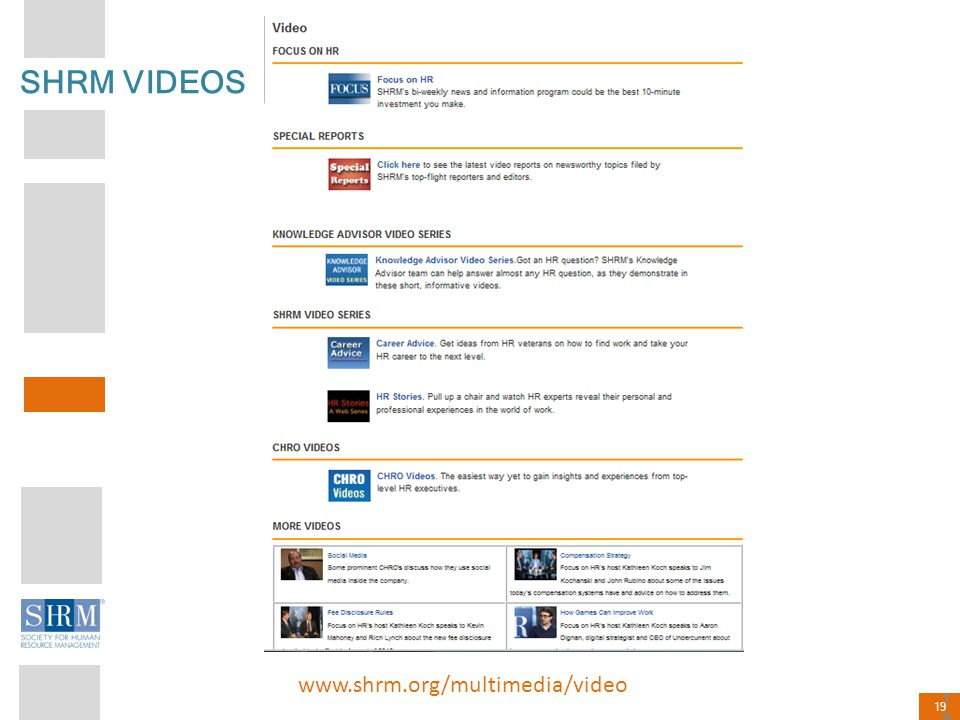 SHRM VIDEOS www.shrm.org/multimedia/video