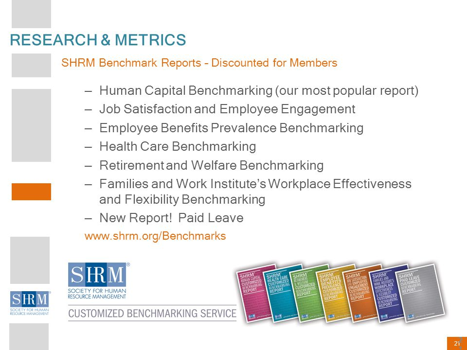 RESEARCH & METRICS SHRM Benchmark Reports – Discounted for Members. Human Capital Benchmarking (our most popular report)