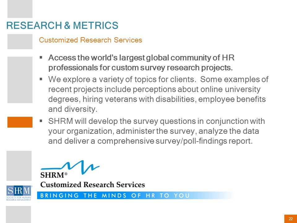 RESEARCH & METRICS Customized Research Services.